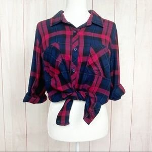 Faded Glory Red Blue Plaid Flannel Button Down
